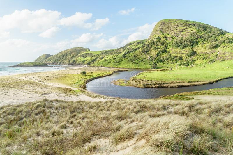 scenic shot of green mountain with curvy river, Spirits Bay, stock image