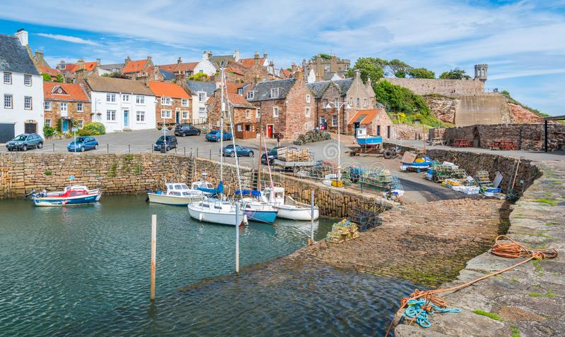 Scenic sight in Crail, small fishermen village in Fife, Scotland. Crail; Scottish Gaelic: Cathair Aile is a former royal burgh, parish and community council stock image