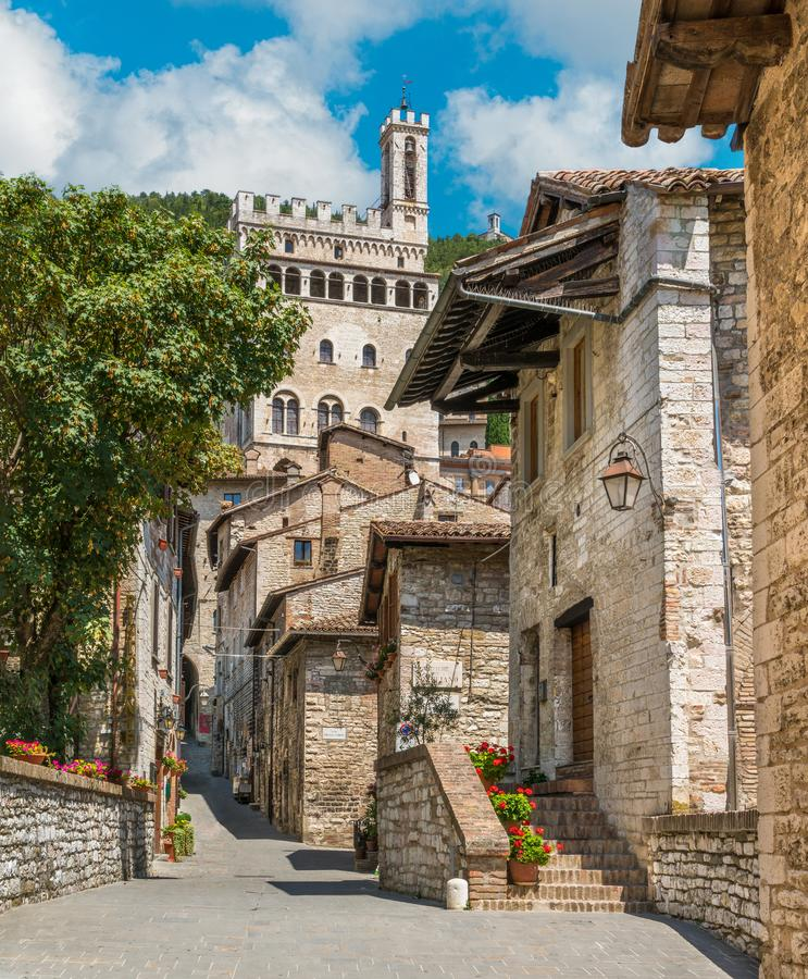 Scenic sight in Gubbio with Palazzo dei Consoli, medieval town in the Province of Perugia, Umbria, central Italy. stock images