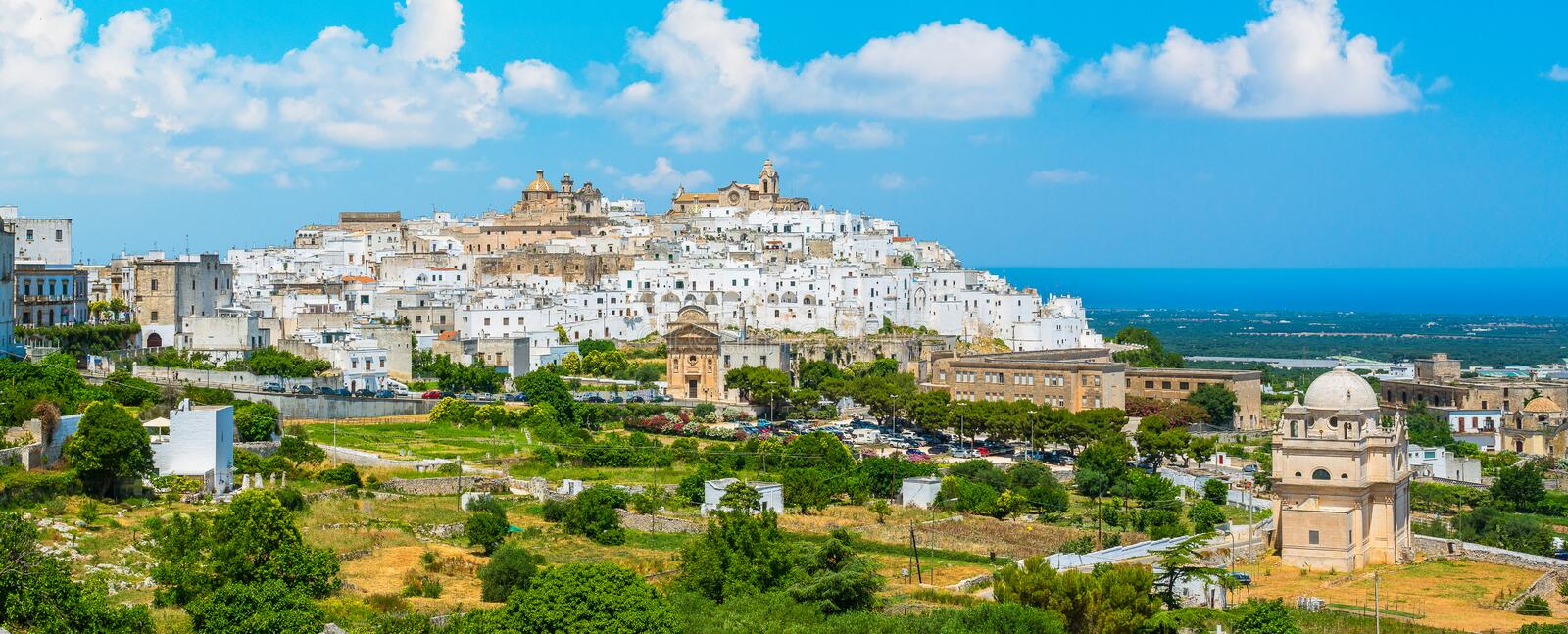 Scenic sight in Ostuni on a sunny summer day, Apulia Puglia, southern Italy. royalty free stock photos