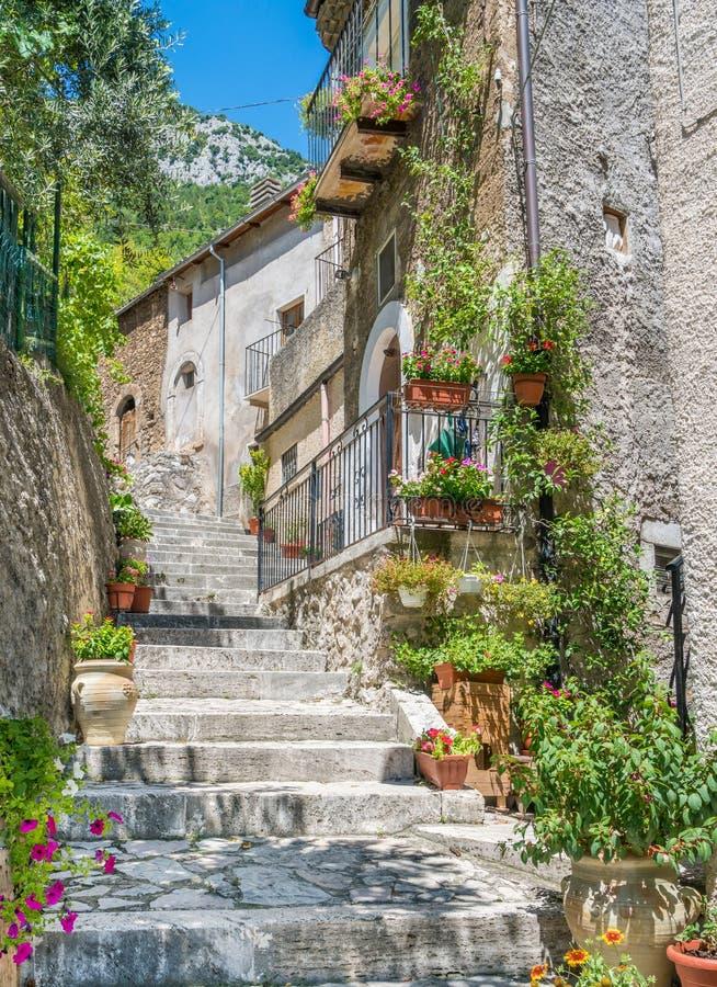 Scenic sight in Pacentro, province of L`Aquila, Abruzzo, central Italy. stock image