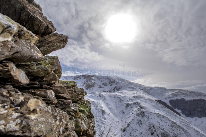 Scenic view of snow-covered mountains royalty free stock photo