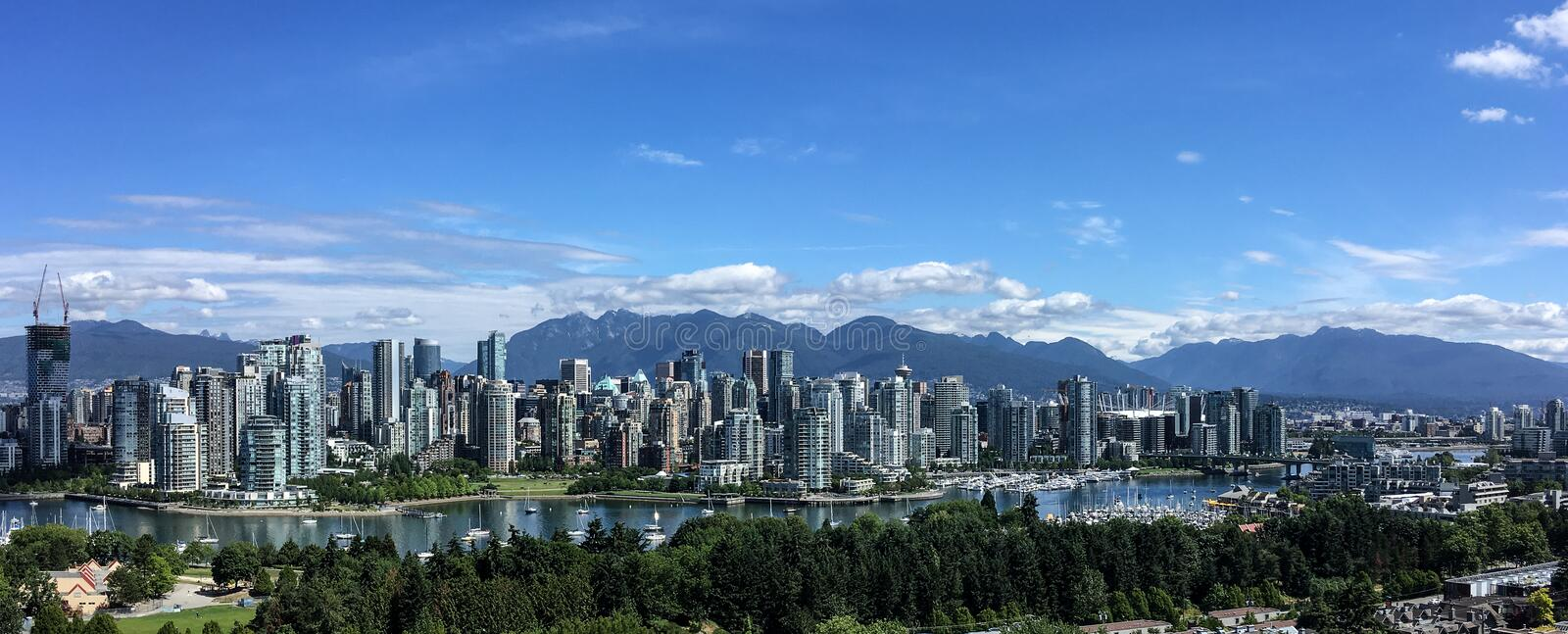 Scenic skyline of downtown Vancouver, BC, Canada stock images