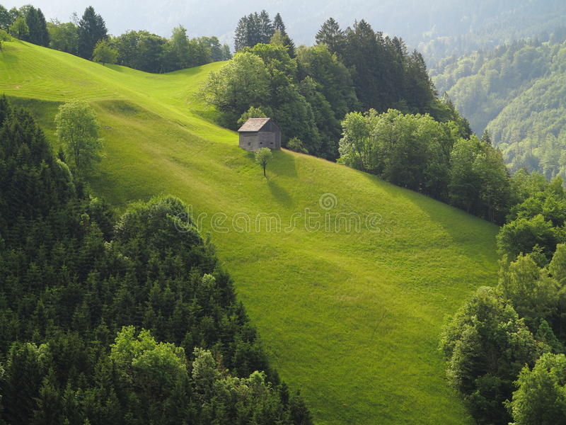 Mountain hut on steep green hill. Green meadows, like velvet, at a steep hill with a mountain hut. A characteristic alpine scenery in the Austrian Alps at summer royalty free stock photos