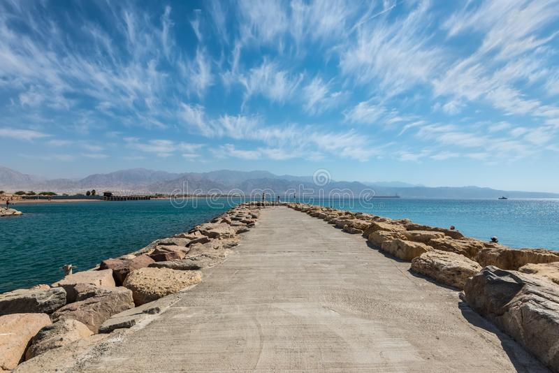 Scenic stone pier in Eilat, Israel royalty free stock images