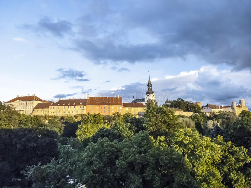 Scenic summer aerial panorama of the Old Town in Tallinn, Estonia royalty free stock photos