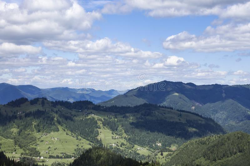 Scenic summer mountains view with cloudy sky. Carpathians royalty free stock photography