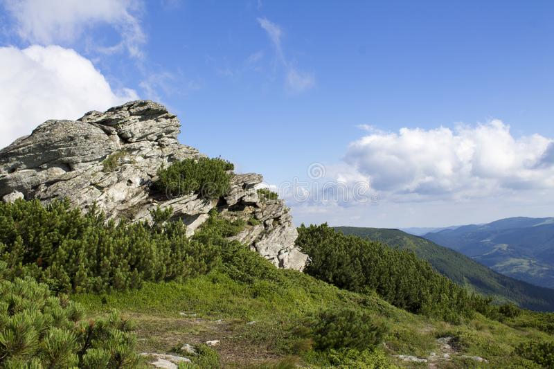 Scenic summer mountains view with cloudy sky. Carpathians stock photos