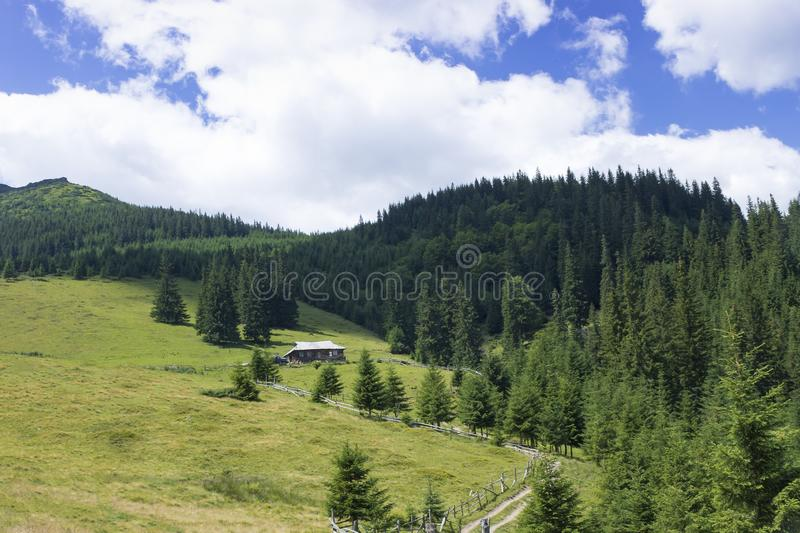 Scenic summer mountains view with cloudy sky. Carpathians royalty free stock photo