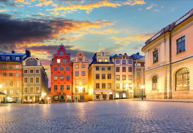 Scenic summer night - Big Square (Stortorget) in the Old Town ( stock photo