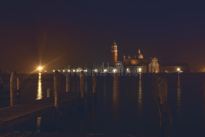 Scenic summer night panorama in Venice, Italy stock images
