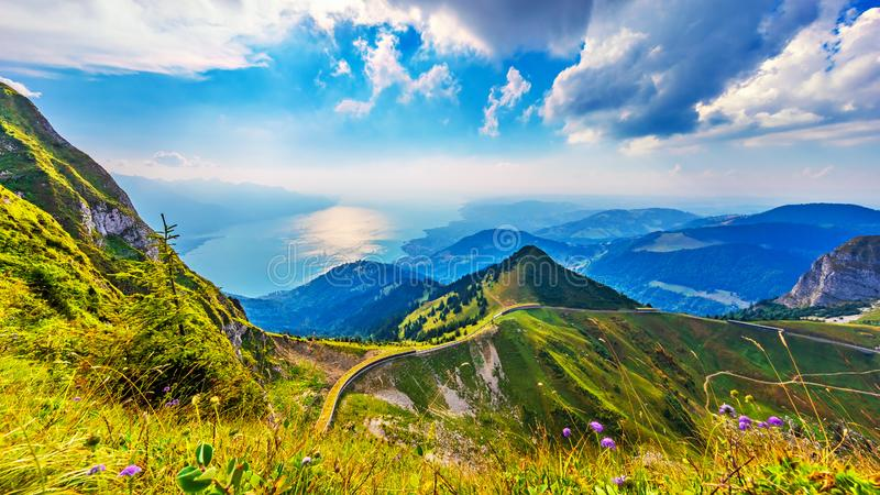 Rochers de Naye peak, Alps Mountains, Switzerland. Scenic summer panorama from Rochers de Naye mountain peak with green grassy hills, flower meadows and Geneva royalty free stock photos