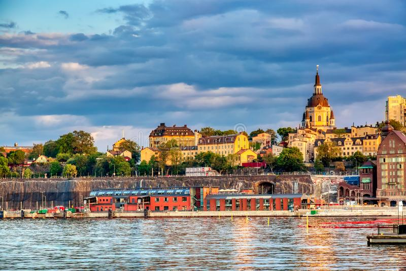 Scenic summer sunset panorama of architecture in Stockholm, Sweden.  stock photo