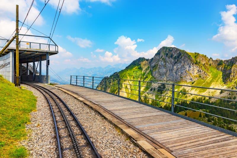 Cogwheel railway to Rochers de Naye, Switzerland. Scenic summer view of the cogwheel railway station on the way to Rochers de Naye mountain peak in Switzerland royalty free stock images