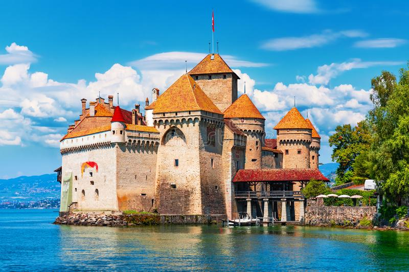 Chillon Castle near Montreux, Switzerland. Scenic summer view of the old ancient medieval Chillon Castle on Geneva Lake near Montreux, Switzerland stock photo