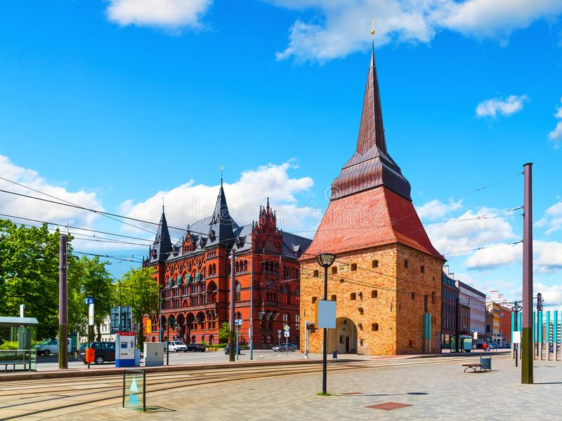 Rostock, Germany. Scenic summer view of the Old Town architecture in Rostock, Mecklenburg region, Germany stock images
