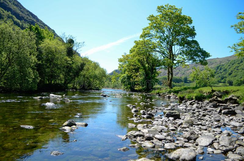 Scenic sunlit view along a calm river with a distinctive tree on one bank. A sunlit view along a river in Snowdonia, with calm waters running between rocks and stock images