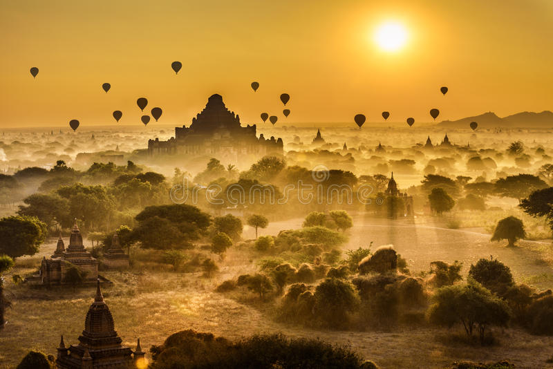 Scenic sunrise above Bagan in Myanmar stock photos