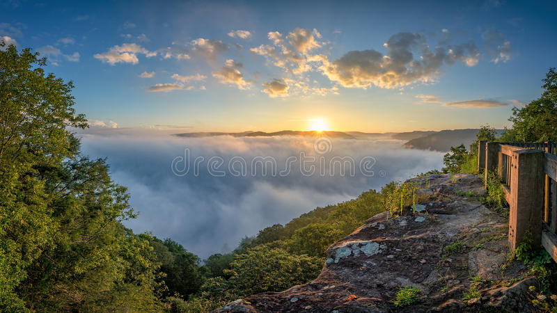Scenic sunrise, New River Gorge, West Virginia royalty free stock photo