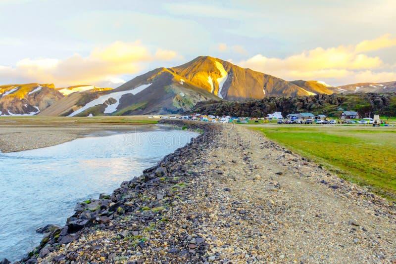 Scenic Sunrise over icelandic mountain landscape. Landmannalaugar. Fjallabak Nature Reserve royalty free stock photo