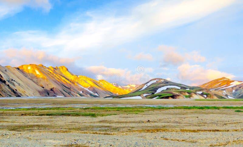 Scenic Sunrise over icelandic mountain landscape. Landmannalaugar. Fjallabak Nature Reserve royalty free stock image