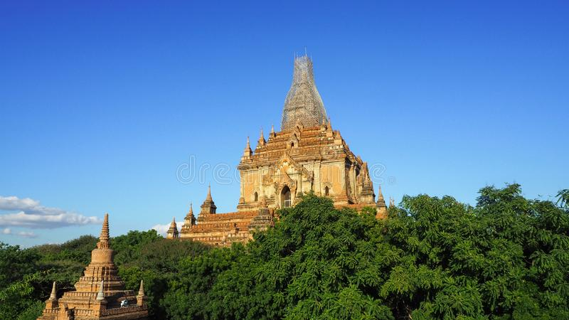Scenic sunrise above bagan in Myanmar Bagan is an ancient city with thousands of historic buddhist royalty free stock images