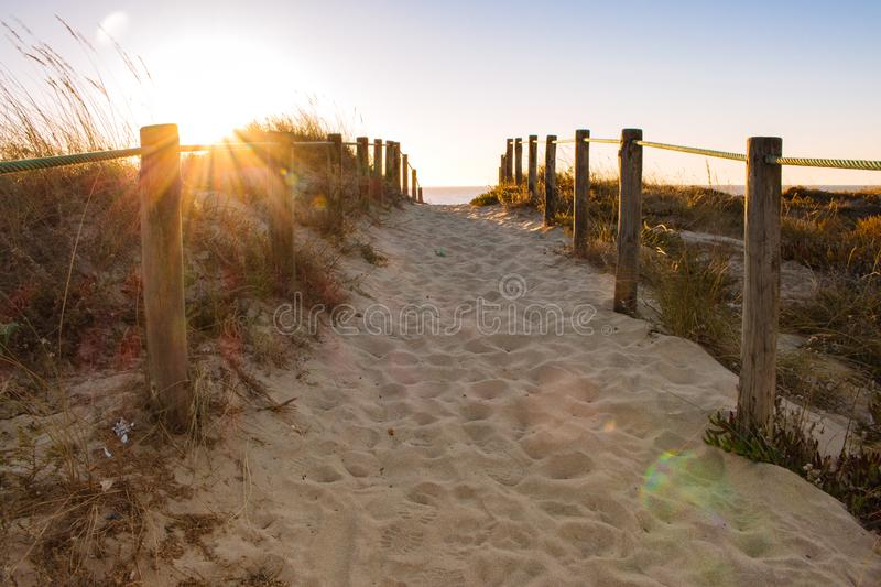Scenic sunset on beach with wooden fence. Entrance to beach in evening sunlight. Wooden columns and path on sand. Scenic sunset on beach with wooden fence royalty free stock photography