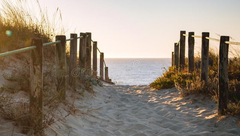Scenic sunset on beach with wooden fence. Entrance to beach in evening sunlight. Wooden columns and path on sand. Scenic sunset on beach with wooden fence stock photo
