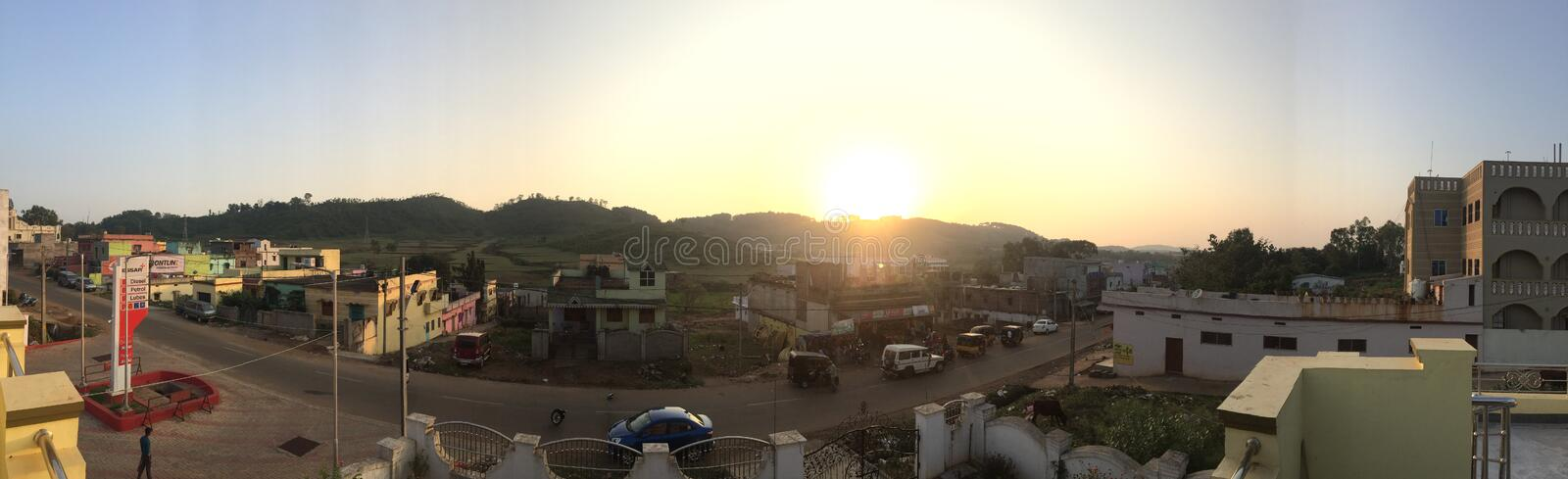 Sunset in the town of Koraput, southern Odisha. Scenic sunset captured from a terrace in the town of Koraput, Odisha stock photos