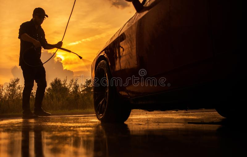 Scenic Sunset Car Washing stock images