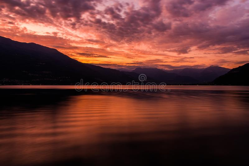 Scenic Sunset at the Como. Scenic Summer Sunset at the Lake Como in Northern Italy. Lombardy Region stock images