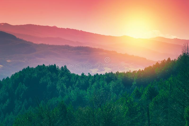 Scenic sunset landscape of Apennine mountains, Italy. The Apennines scenery stock photo