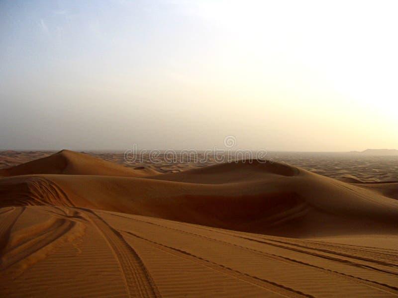 Scenic sunset landscape view of the red desert of Dubai stock image