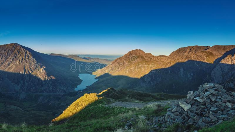 Panoramic View of Snowdonia Mountains in North Wales, UK stock images