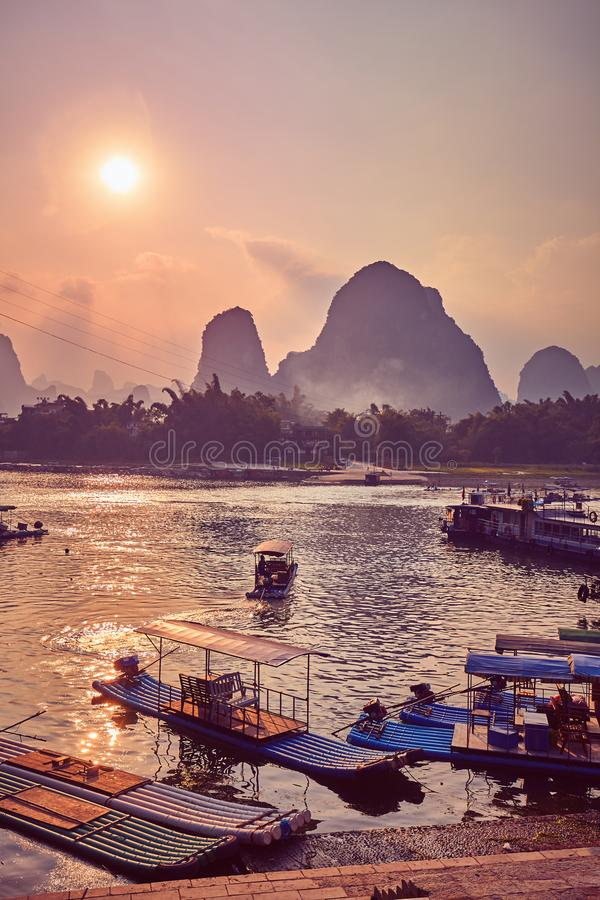 Scenic sunset over Li River in Xingping, China. royalty free stock image