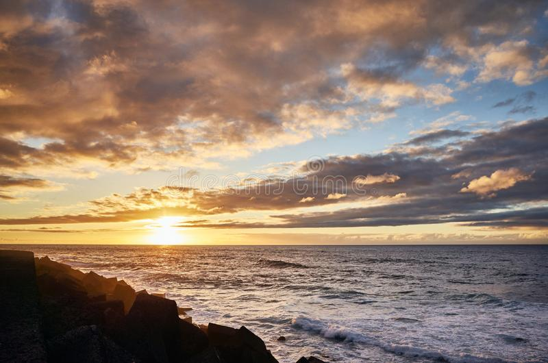 Scenic sunset over the ocean, Tenerife, Spain stock image