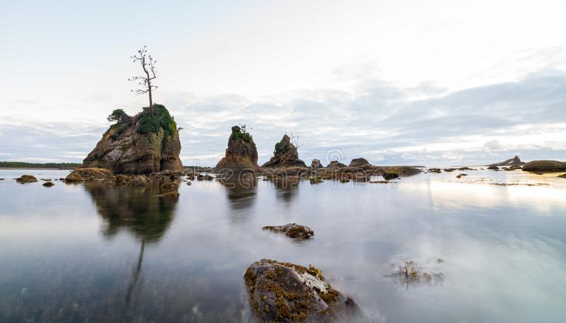 Scenic sunset over panoramic view of Tillamook bay, Oregon. Rock formations stick out the water royalty free stock photo