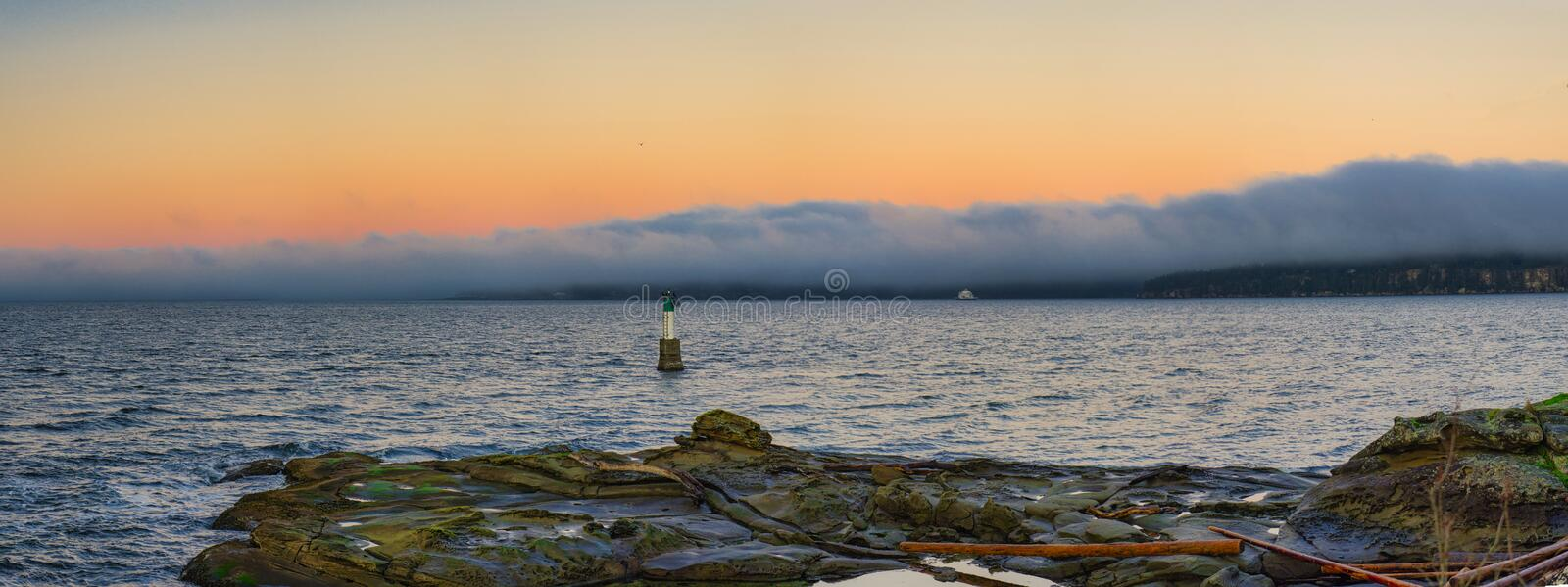 Scenic panoramic view of the ocean at sunset from Jack Point and royalty free stock images