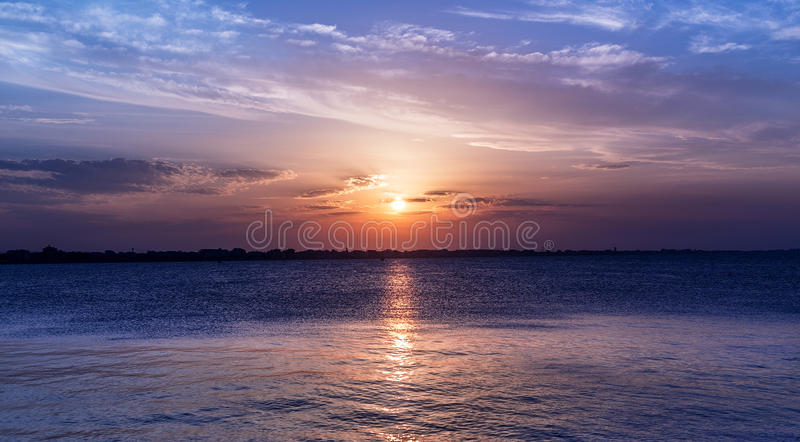 Scenic sunset sky over sea. intense colors. Twilight landscape. Rimini royalty free stock image