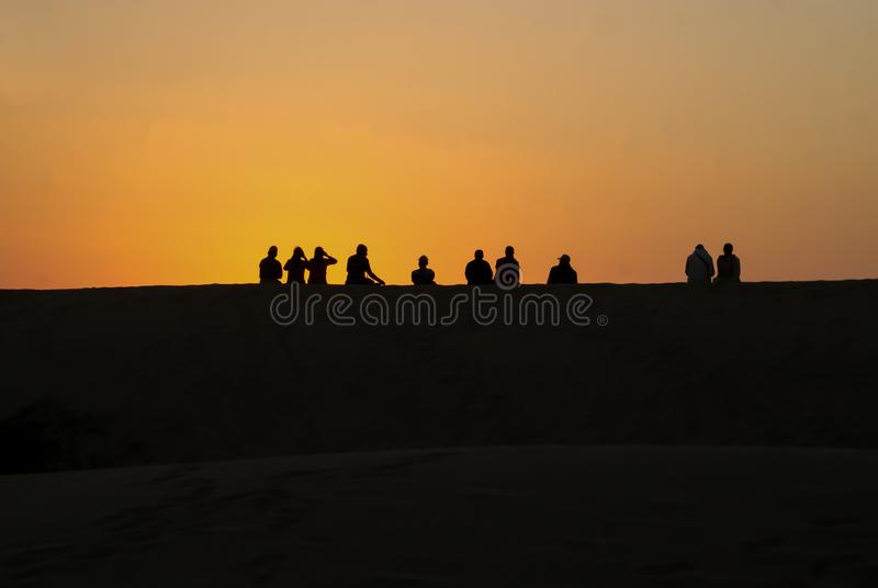 The scenic sunset view at Sam Sand Dunes stock images