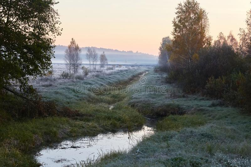 Scenic and tender landscape with sunrise royalty free stock photos