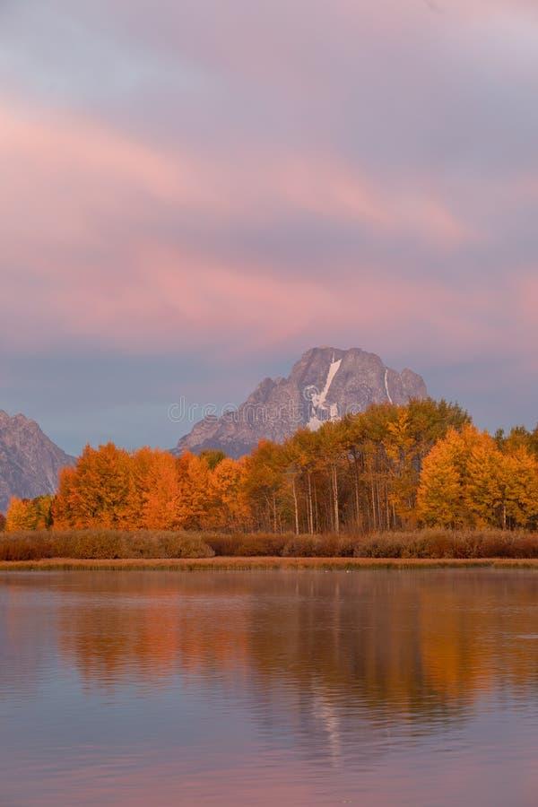 Scenic Teton Autumn Landscape at Sunrise stock photography