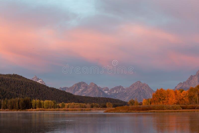 Scenic Teton Autumn Sunrise Landscape stock images