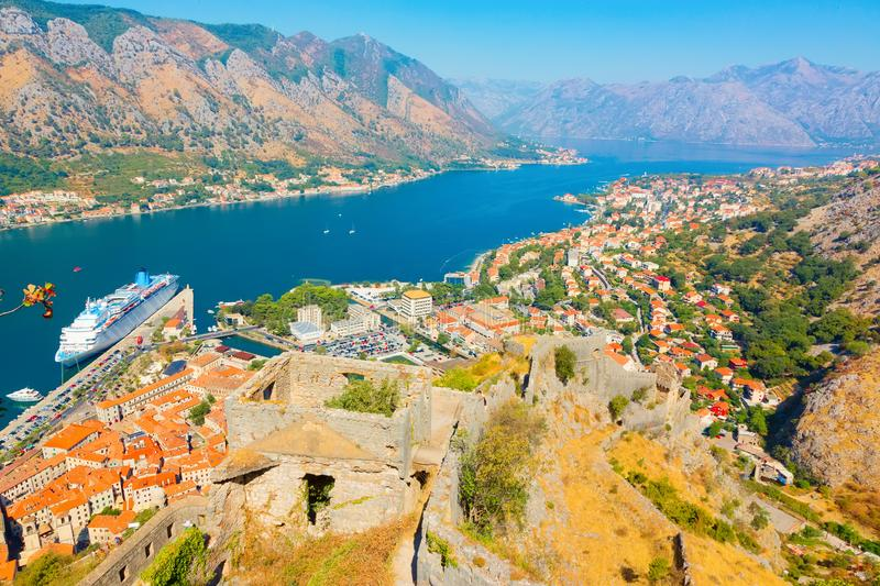 Scenic top view on Boka Kotorska bay. Montenegro. Kotor, Montenegro. Beautiful landscape. Scenic top view on one of the most popular places on Adriatic Sea. Old stock images