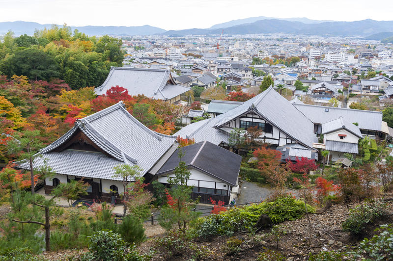 Scenic top view of Enkoji Temple and north Kyoto city skyline during autumn.  stock photo