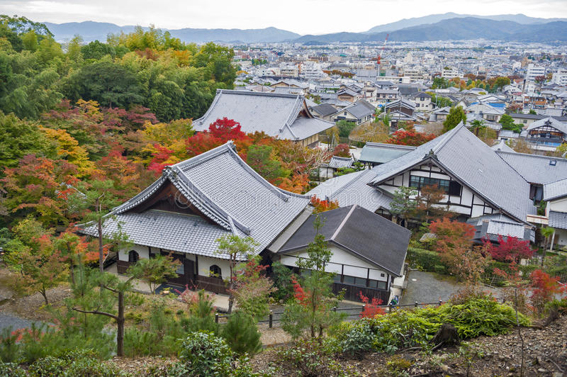Scenic top view of Enkoji Temple and north Kyoto city skyline during autumn.  royalty free stock photography