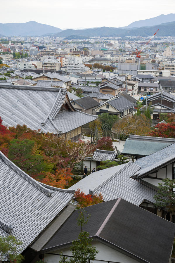 Scenic top view of Enkoji Temple and north Kyoto city skyline during autumn.  stock images