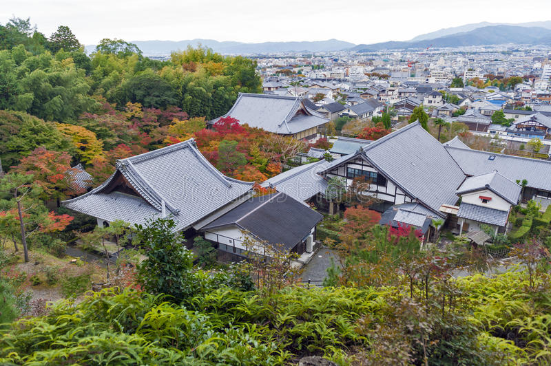 Scenic top view of Enkoji Temple and north Kyoto city skyline during autumn.  stock image