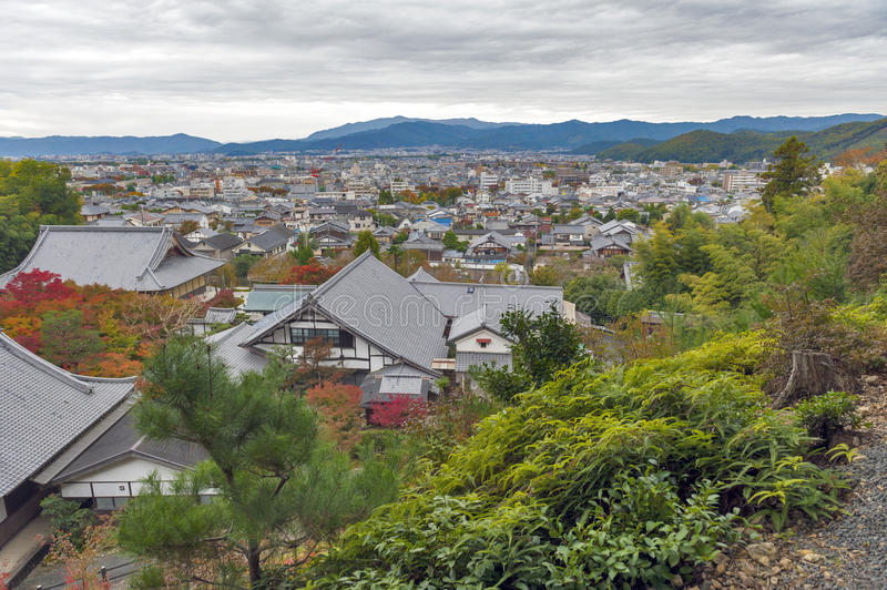 Scenic top view of Enkoji Temple and north Kyoto city skyline during autumn.  stock photos