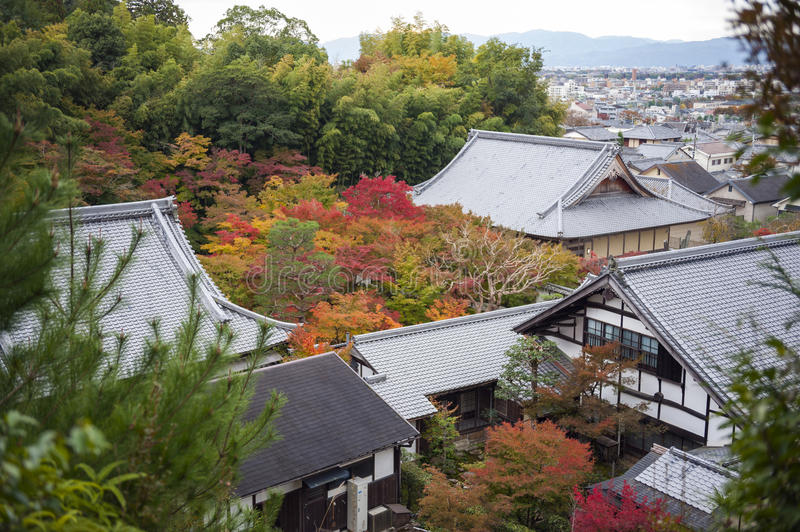 Scenic top view of Enkoji Temple and north Kyoto city skyline during autumn.  royalty free stock photos